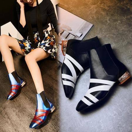 爆款性感潮流真皮女靴女鞋方头拼色平底粗跟马丁靴