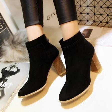 高档羊皮女靴磨砂皮尖头短筒靴平底靴真皮粗跟马丁靴潮流骑士靴