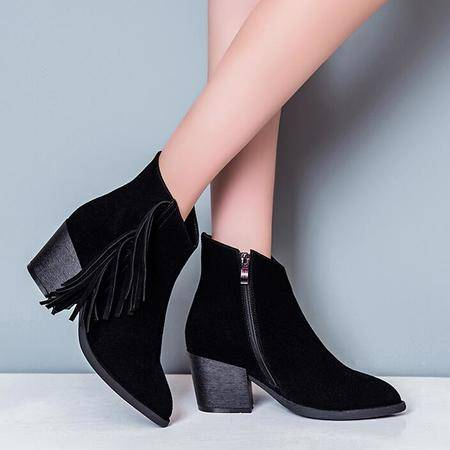 真皮女靴尖头平底潮流时装靴流苏靴真皮粗跟短筒靴