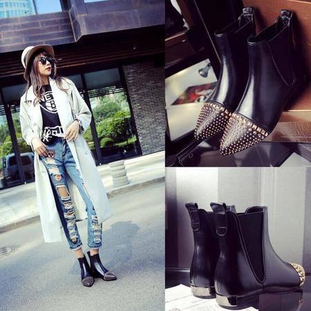 欧美真皮铆钉平底内增高尖头女单靴子秋冬季新款短靴马丁靴