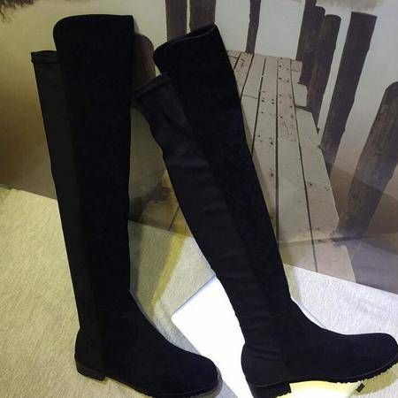 小辣椒同款欧美时尚牛皮过膝弹力靴真皮粗跟平底长筒靴骑士靴