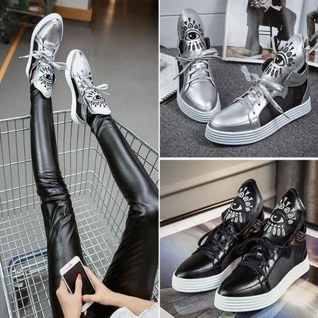 韩版厚底真皮女靴休闲鞋学院风潮流学生靴时尚百搭运动鞋