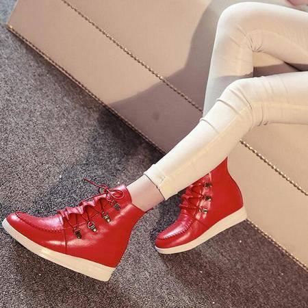 2016秋季新款高帮鞋透气坡跟短靴内增高厚底学生鞋系带真皮女靴