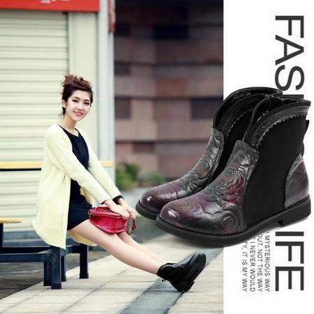 名族风街头真皮女靴印花拼色平底短靴欧美大牌时尚粗跟马丁靴