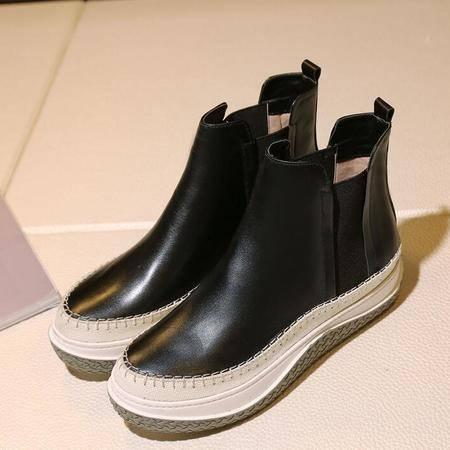 松糕跟防水台厚底女鞋切尔西靴里外全皮罗马靴英伦简约时尚女靴子