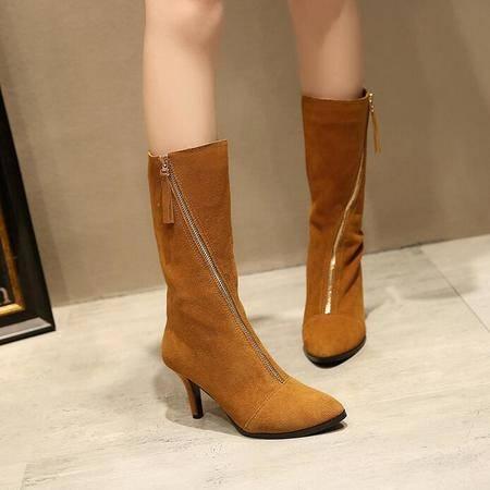 秋冬新款高筒时尚尖头平底长筒靴子拉链细跟潮流骑士靴