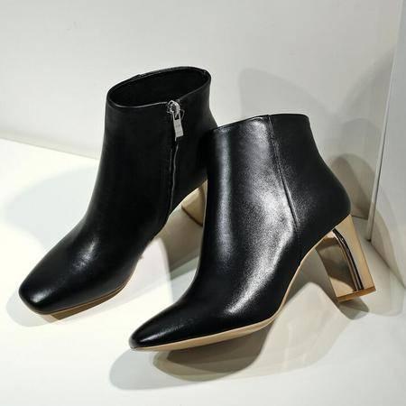 秋冬新款时尚电镀高跟皮靴欧美时尚高档皮质女鞋方头真皮女靴子