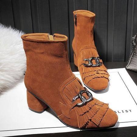 英伦时尚T台走秀流苏靴磨砂皮平底短靴方头粗跟女靴子真皮女鞋