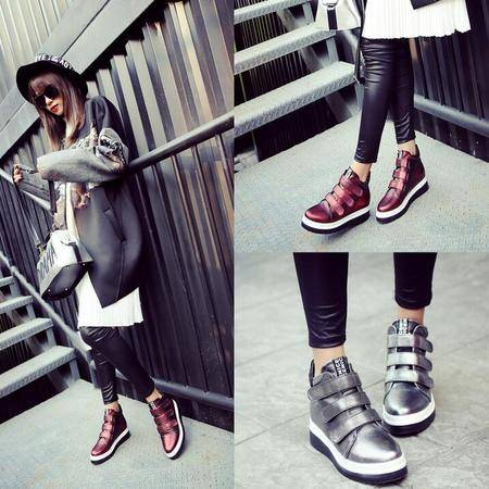 真皮短靴时尚大牌休闲靴魔术贴厚底拼色单靴内增高深口高帮鞋女靴