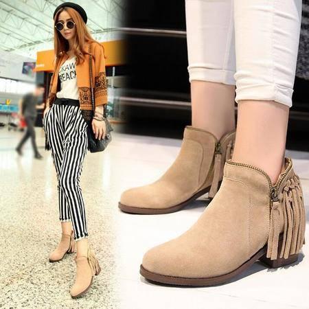 秋冬季新款流苏靴圆头平底及裸靴磨砂皮粗跟短靴真皮女靴