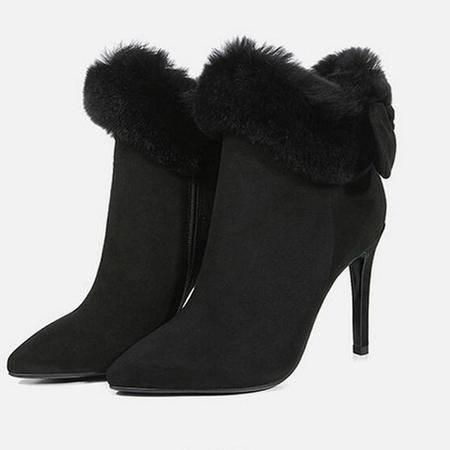 高档真皮女靴冬季新款欧美尖头毛绒细跟短靴磨砂皮高跟鞋
