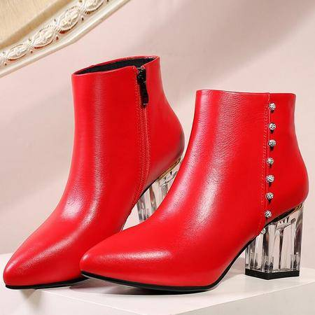 2016新款真皮马丁靴平底罗马靴潮流百搭尖头粗跟马丁靴女靴