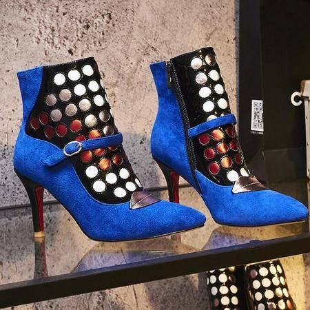 欧美风时尚百搭拼色皮带扣细跟短靴新款潮流尖头低筒女靴真皮女鞋