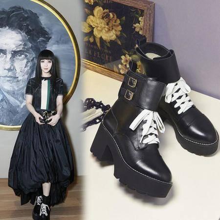 英伦真皮女士靴子明星同款真皮女鞋锯齿厚底皮带扣短筒靴