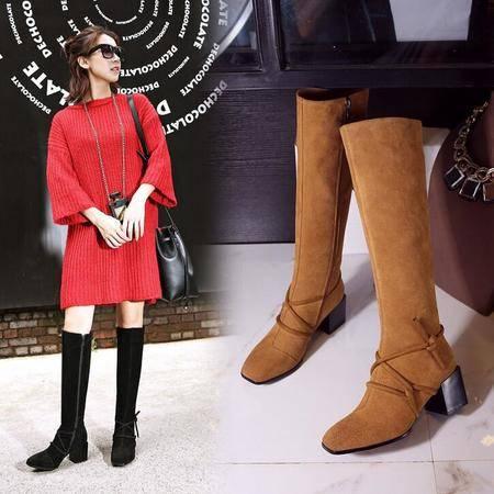 欧美冬季新款方头粗跟长筒靴交叉绑带全牛皮女靴子磨砂真皮马丁靴