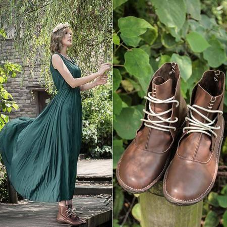 新款日系森女靴复古文艺短筒靴纯手工缝制马丁靴里外全皮女靴子