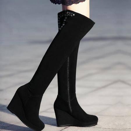 2016秋冬新品圆头真皮过膝长靴女靴子水钻厚底坡跟骑士靴