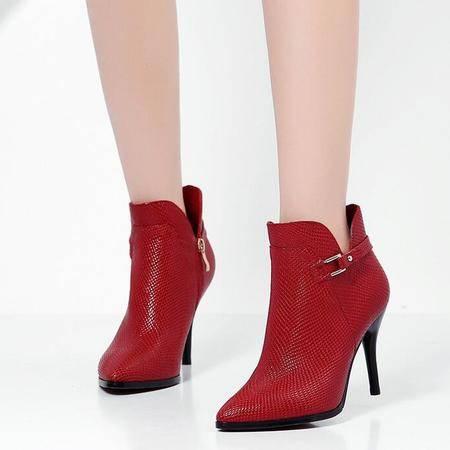 春秋及新款真皮女靴子皮带扣尖头马丁靴性感细跟婚鞋超高跟短筒靴
