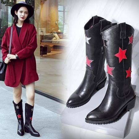 火拼秋季爆款女士皮靴尖头粗跟马丁靴时尚拼色雪地靴潮流罗马靴