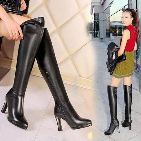 英伦时尚大牌长筒靴高档牛皮女靴子防水台粗跟过膝靴骑士靴潮