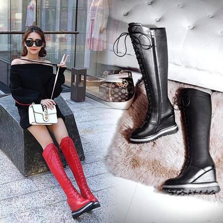 尚潮流骑士靴系带厚底坡跟真皮女靴子冬季加绒保暖靴