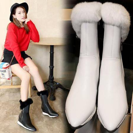 16年冬季新款兔毛中筒靴坡跟尖头牛皮短靴防水台尖头女靴子骑士靴