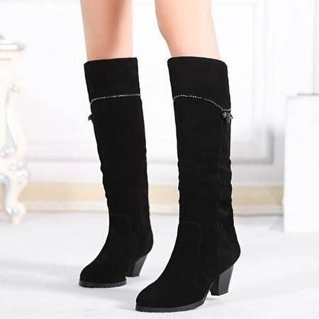 欧美风真皮女靴子水钻尖头马丁靴简约时尚粗跟骑士靴加绒冬靴