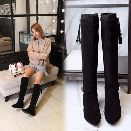 秋冬季新款保暖靴真皮长筒女靴子内增高坡跟弹力靴磨砂皮流苏靴
