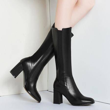 欧美时尚性感真皮高跟长靴自然折皱头层牛皮方头方跟高筒靴女靴