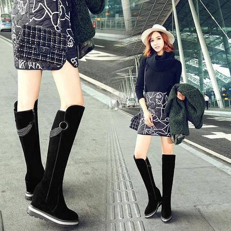 2016冬季新款长筒靴链条厚底坡跟骑士靴磨砂真皮女靴子时尚罗马靴