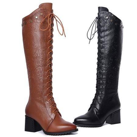 冬季铆钉五星真皮长靴尖头系带马丁靴粗跟高跟高筒靴头层牛皮棉靴