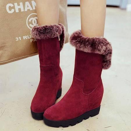 女鞋欧美防水台内增高短靴子磨砂真皮女靴子冬季保暖加绒雪地靴