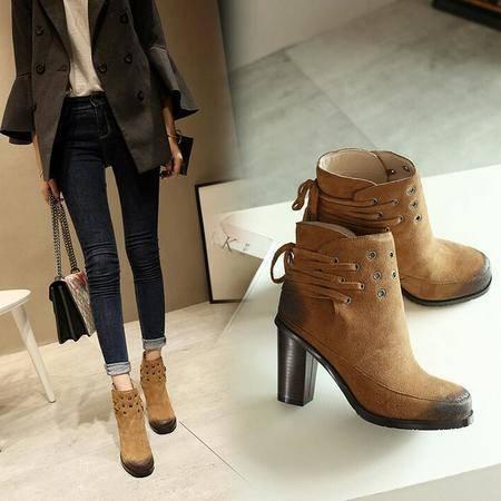 新款秋冬新款系带中筒靴内增高圆头马丁靴高跟厚底真皮女靴子