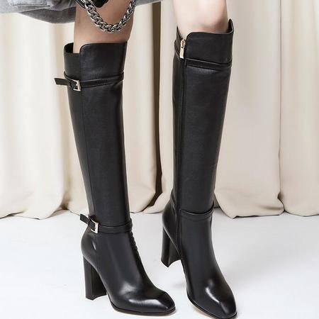 潮流真皮女靴子皮带扣粗跟马丁靴过膝弹力靴女鞋