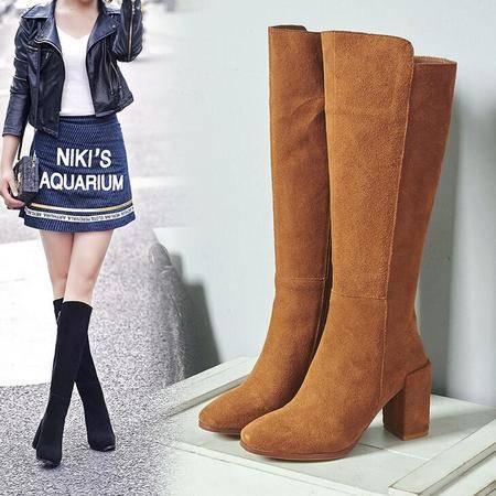 2016秋冬季保暖方头粗跟真皮高筒靴高跟磨砂皮女靴显瘦腿切尔西靴