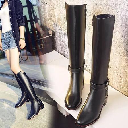 秋冬欧美方头真皮裸靴粗跟高筒靴金属皮带扣女式皮靴女鞋中跟女靴