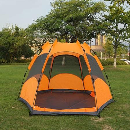 新推款六角帐篷 自动弹簧速开3-4人双层户外露营帐篷 免搭建