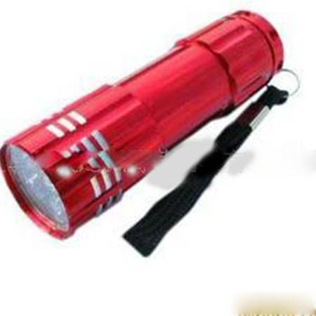 超亮LED迷你手电筒 露营灯 夜骑灯 铝合金手电筒 9LED 3节7号电池