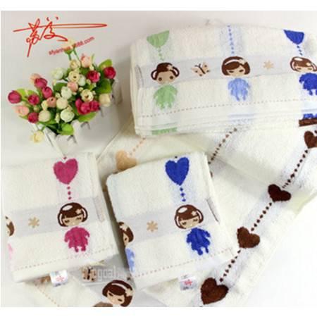 包邮3条起拍 Gegoal/吉高 厂家直销棉毛巾 小女孩提花加厚毛巾 抗菌防螨虫