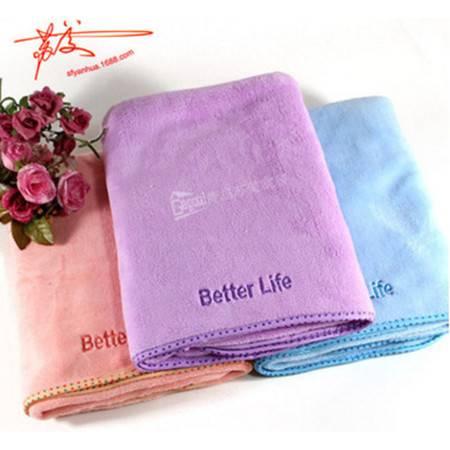 包邮 加大加厚珊瑚绒浴巾 超柔超吸水超细纤维长绒浴巾 粉紫蓝 75*130