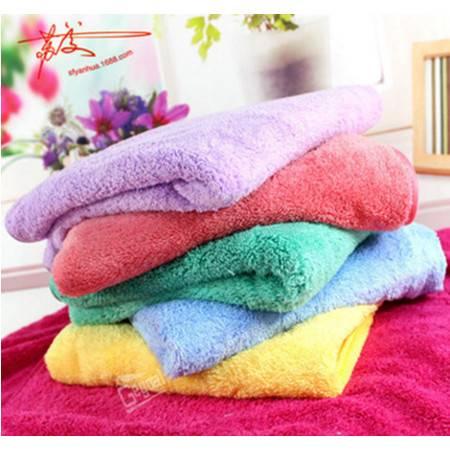 包邮2条装 珊瑚绒儿童浴巾 婴幼儿童毛巾 超吸水易清洗 100*50 颜色随机