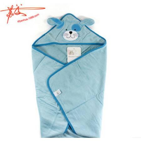 包邮 宝宝纯棉卡通熊连帽抱被 带帽纯棉浴巾儿童盖毯 100%纯棉