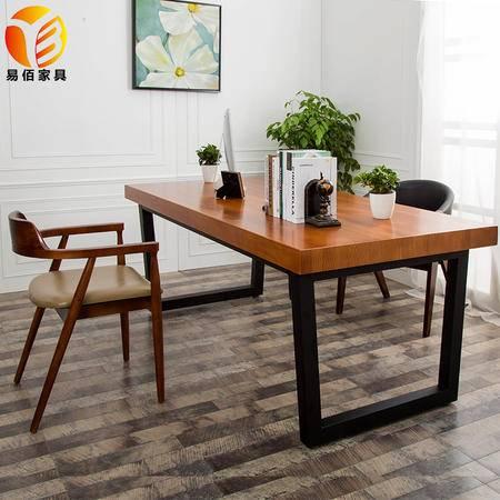 美式铁艺电脑桌实木办公桌会议桌洽谈桌老板桌长方形书桌欧式餐桌