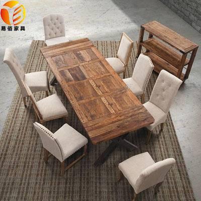 美式乡村北欧咖啡茶餐厅桌椅实木家具原木复古铁艺餐桌书桌会议桌