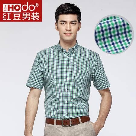 红豆男装商务休闲英伦格子抗皱短袖衬衫ECS32025