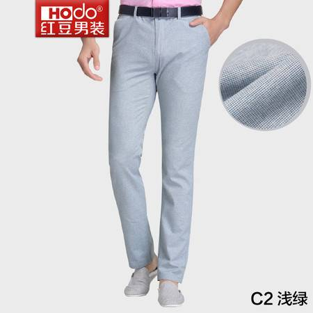 红豆男装时尚修身薄款浅色几何小花纹休闲裤DMFGK424S