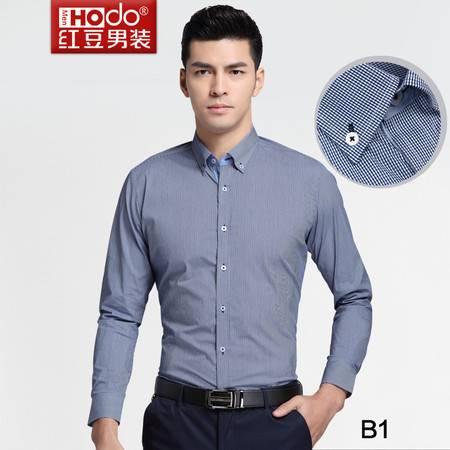 红豆男装春夏专柜同款时尚修身圆摆格子男士休闲衬衫DMFCC216S