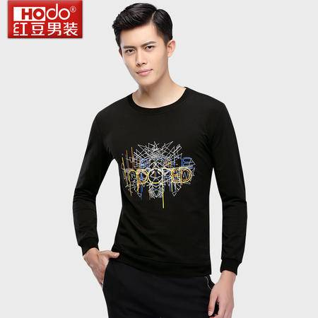 红豆男装圆领印花长袖T恤时尚韩版潮流修身男T恤卫衣DMFOT032S