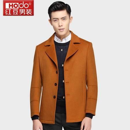 红豆男装羊毛大衣西装领纯色羊毛短款呢子大衣男DMFTD037S