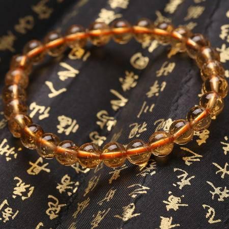 宝开鑫 天然黄水晶6mm圆珠手链